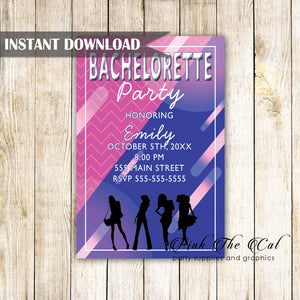 Bachelorette invitation pink blue printable instant download