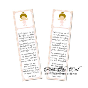 Ballerina bookmarks printable baby shower favors personalized