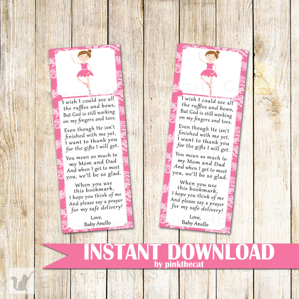 Ballerina Bookmark Baby Shower Favor Printable Editable File