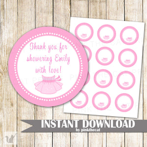 Ballerina Gift Favor Label Sticker Tag Baby Shower Birthday Printable