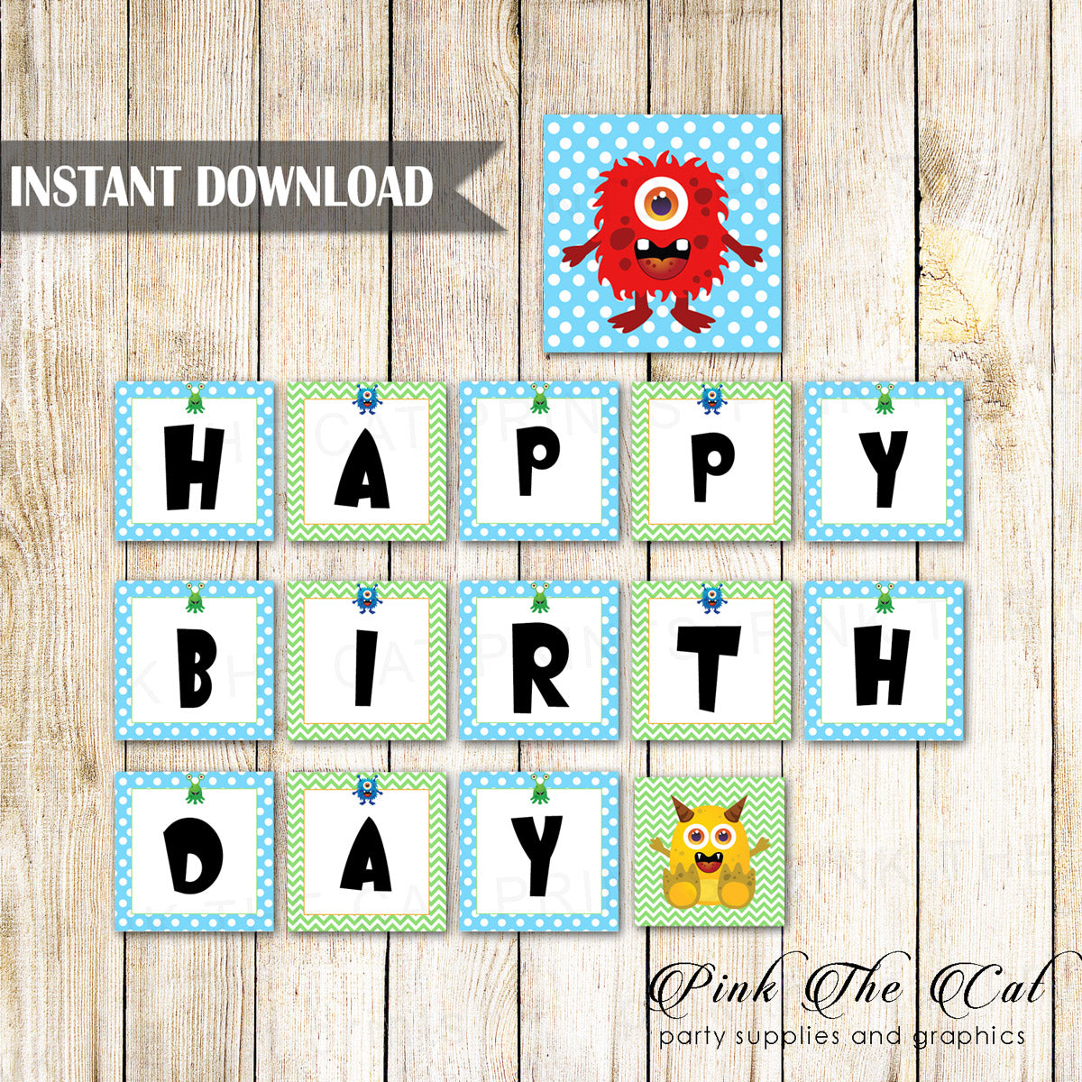 graphic regarding Birthday Banner Printable called Small Monsters Satisfied Birthday Banner Printable