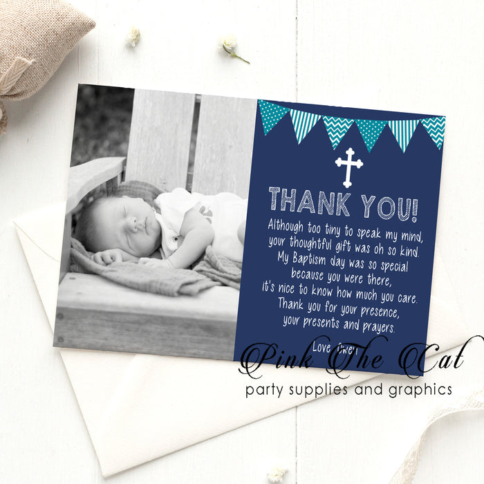 Teal blue religious thank you photo card (set of 30)
