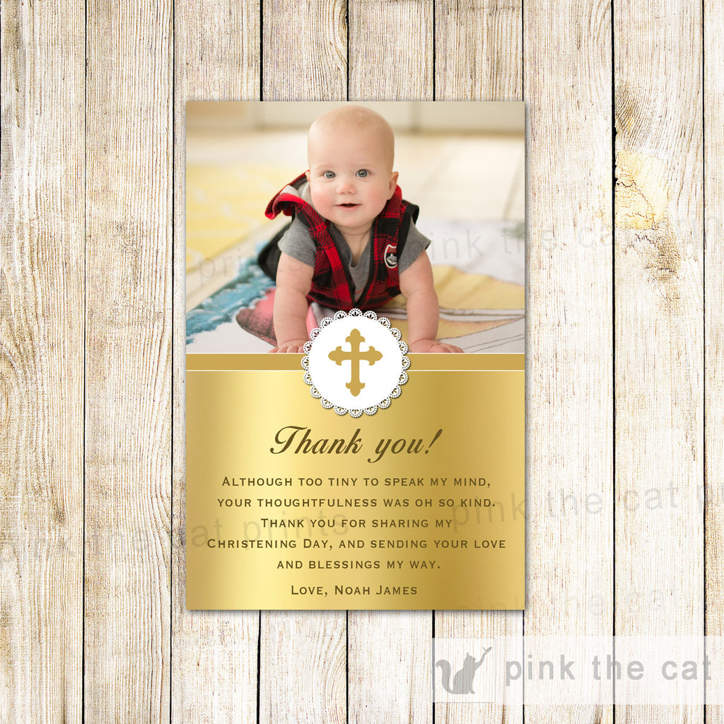 Baptism Christening Thank You Note Photo Card Gold