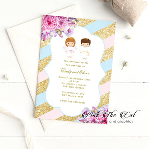 30 Twins angel baptism invitations pink blue gold gender neutral