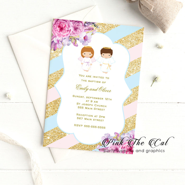 Twins angel baptism invitations pink blue printable