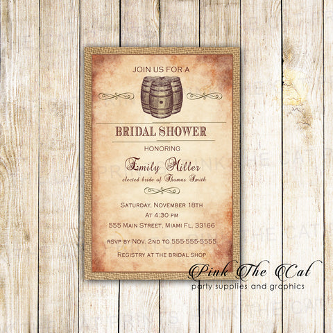 Barrel Invitations Vintage Bridal Shower