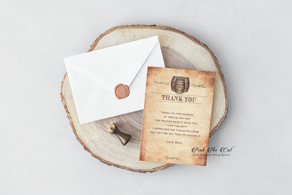 100 thank you cards rustic wine barrel wedding birthday