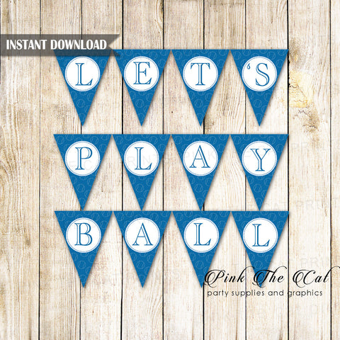 Baseball Flag Banner Blue Lets Play Ball