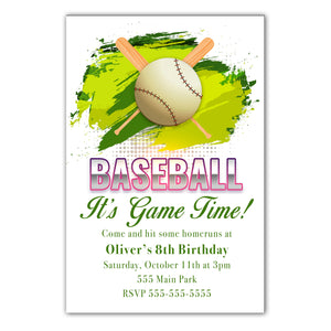 30 Baseball invitation green gender neutral green personalized