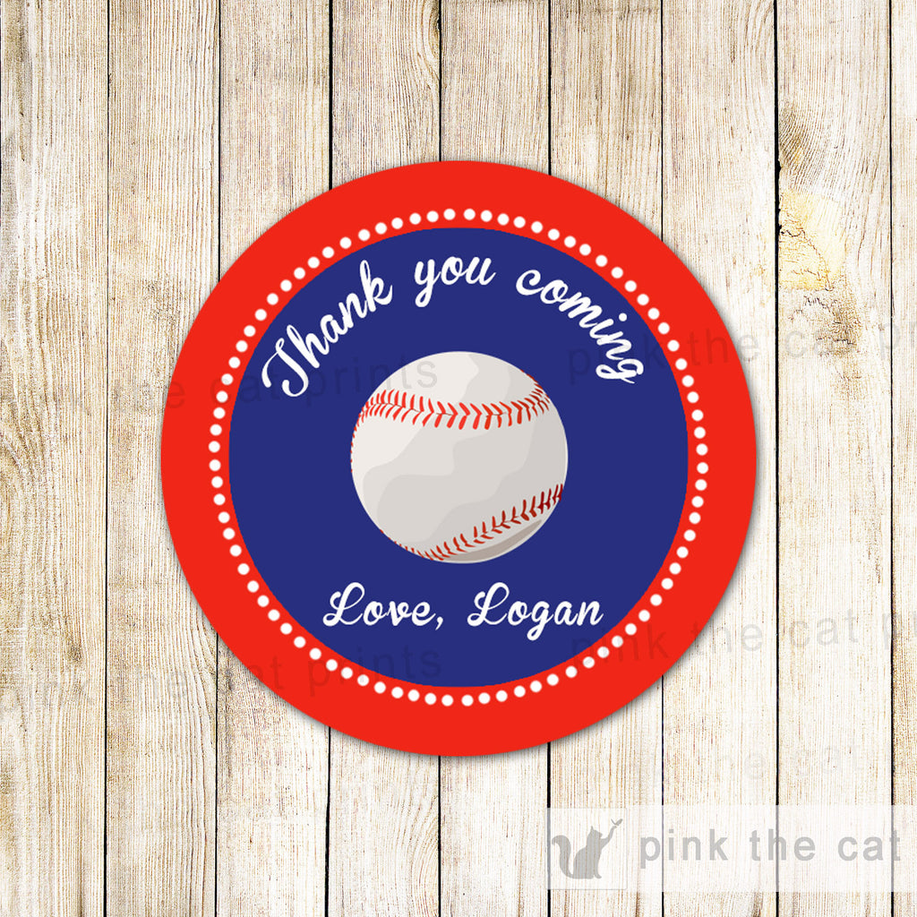 40 Stickers Favor Label Baseball Birthday Baby Shower