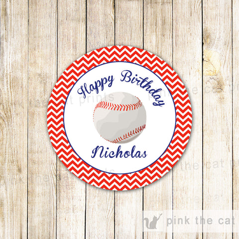 Baseball Favor Label Sticker Gift Tag Baby Shower Boy Birthday Red Blue