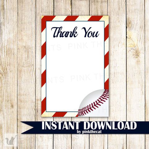 Baseball Blank Thank You Card Note Birthday Baby Shower Printable