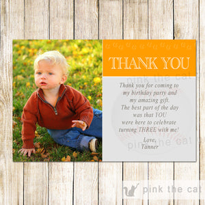 25 printed cards Baseball Orange thank you note