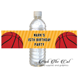 60 Basketball ball bottle label kids teens birthday favors