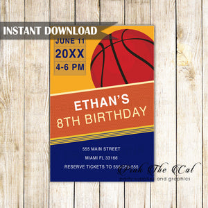 Basketball invitation blue orange printable