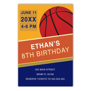 Basketball invitation blue orange (set of 30)