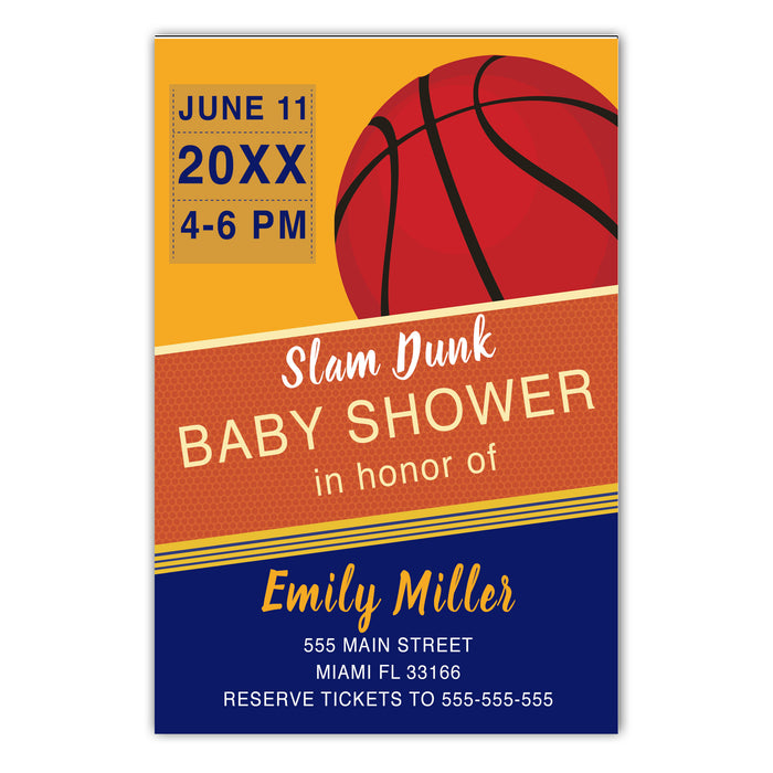 Basketball invitation blue orange & envelopes (set of 30)
