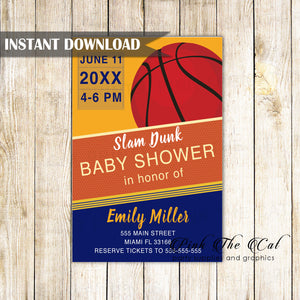 Basketball invitation blue orange printable birthday baby shower
