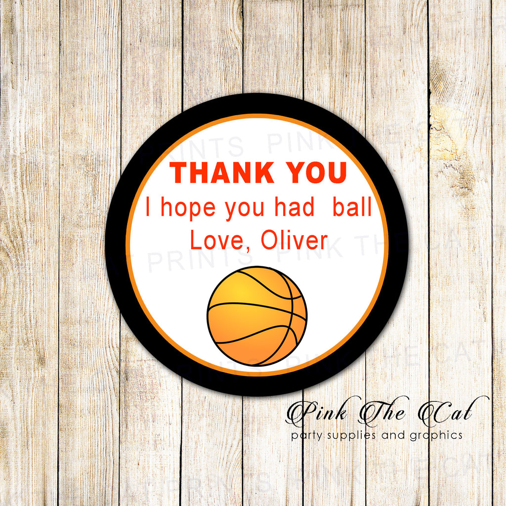 40 Stickers Favor Label Basketball Birthday Baby Shower