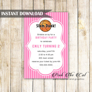 Basketball invitation pink birthday baby shower printable downoad now