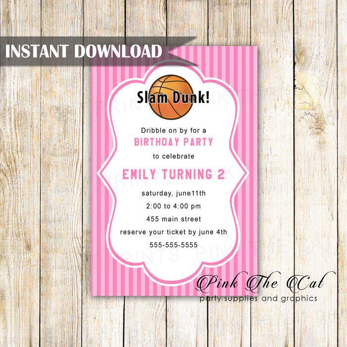 Basketball invitation pink printable