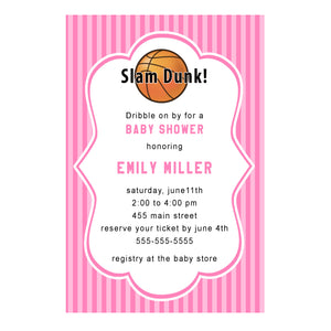Basketball invitation pink birthday baby shower personalized