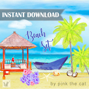 beach clipart watercolor