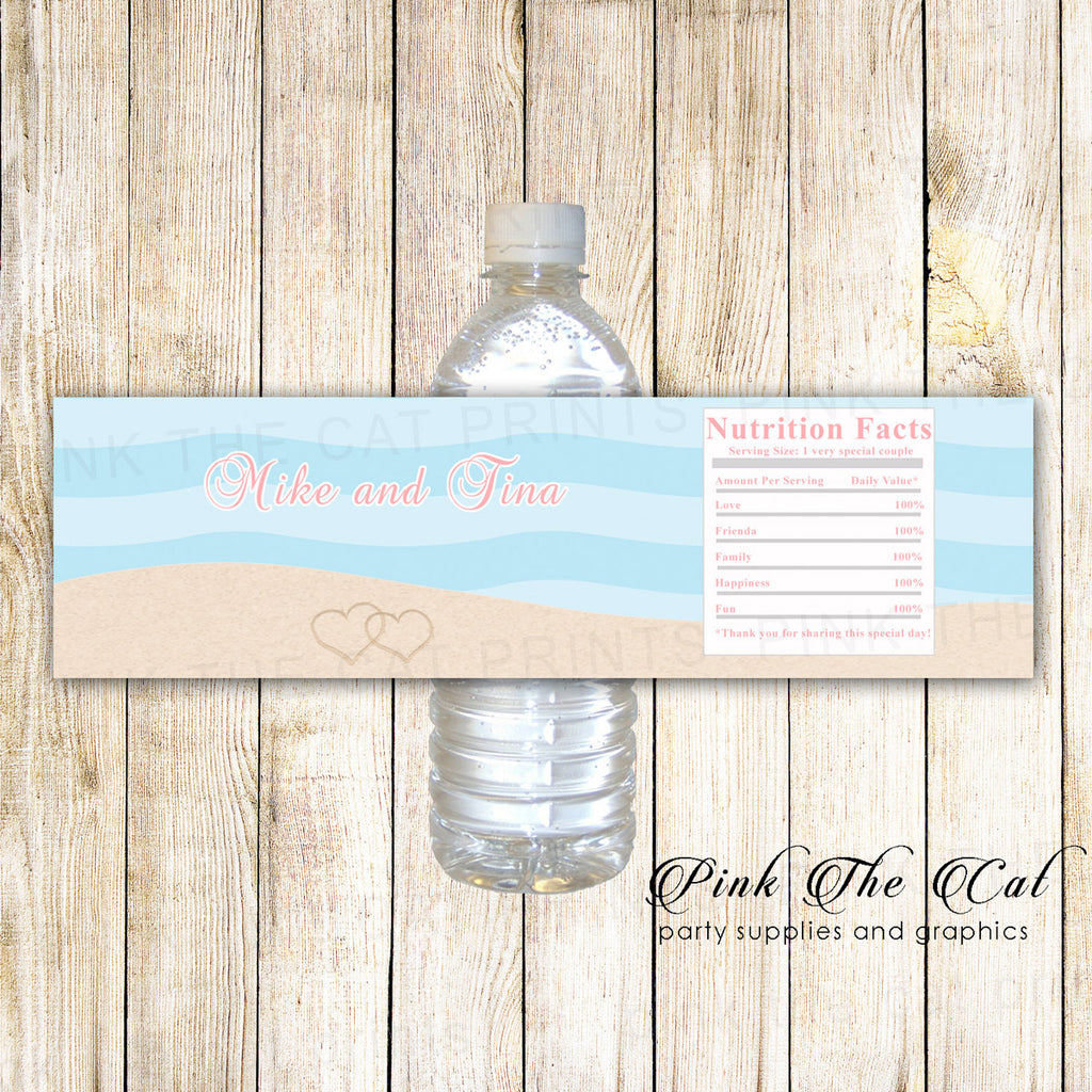 beach bridal shower bottle labels