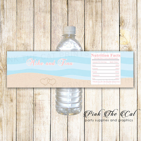 beach wedding bridal shower water bottle label