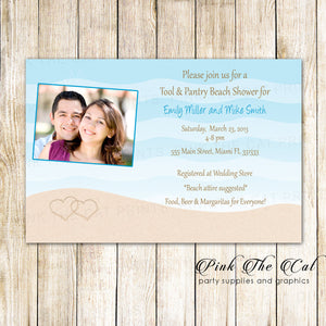 30 Invitations Beach Bridal Shower With Photo Personalized