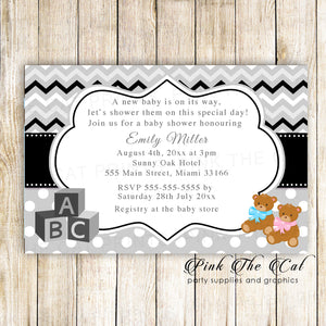 30 bear baby shower invitations twins unisex with envelopes