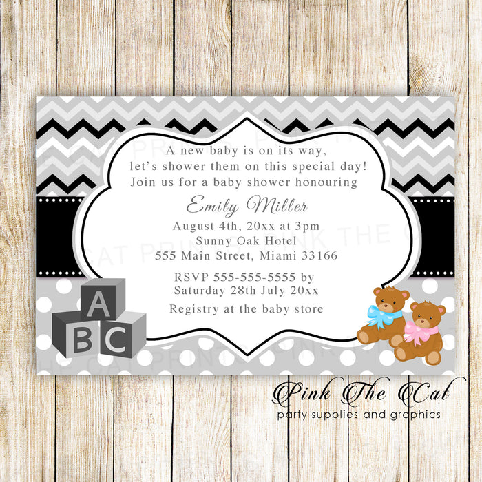 Bear baby shower invitation pink blue photo paper