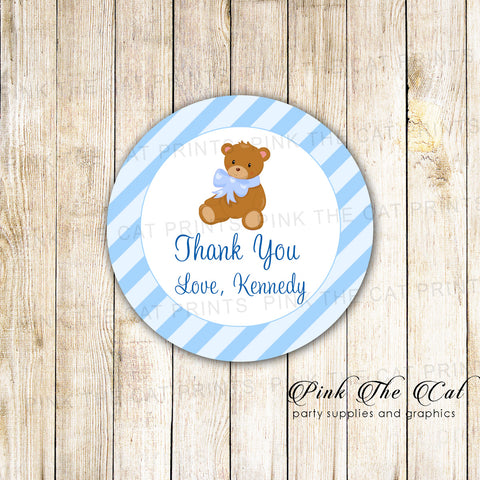 40 Stickers Bear Favor Label Boy Baby Shower Birthday