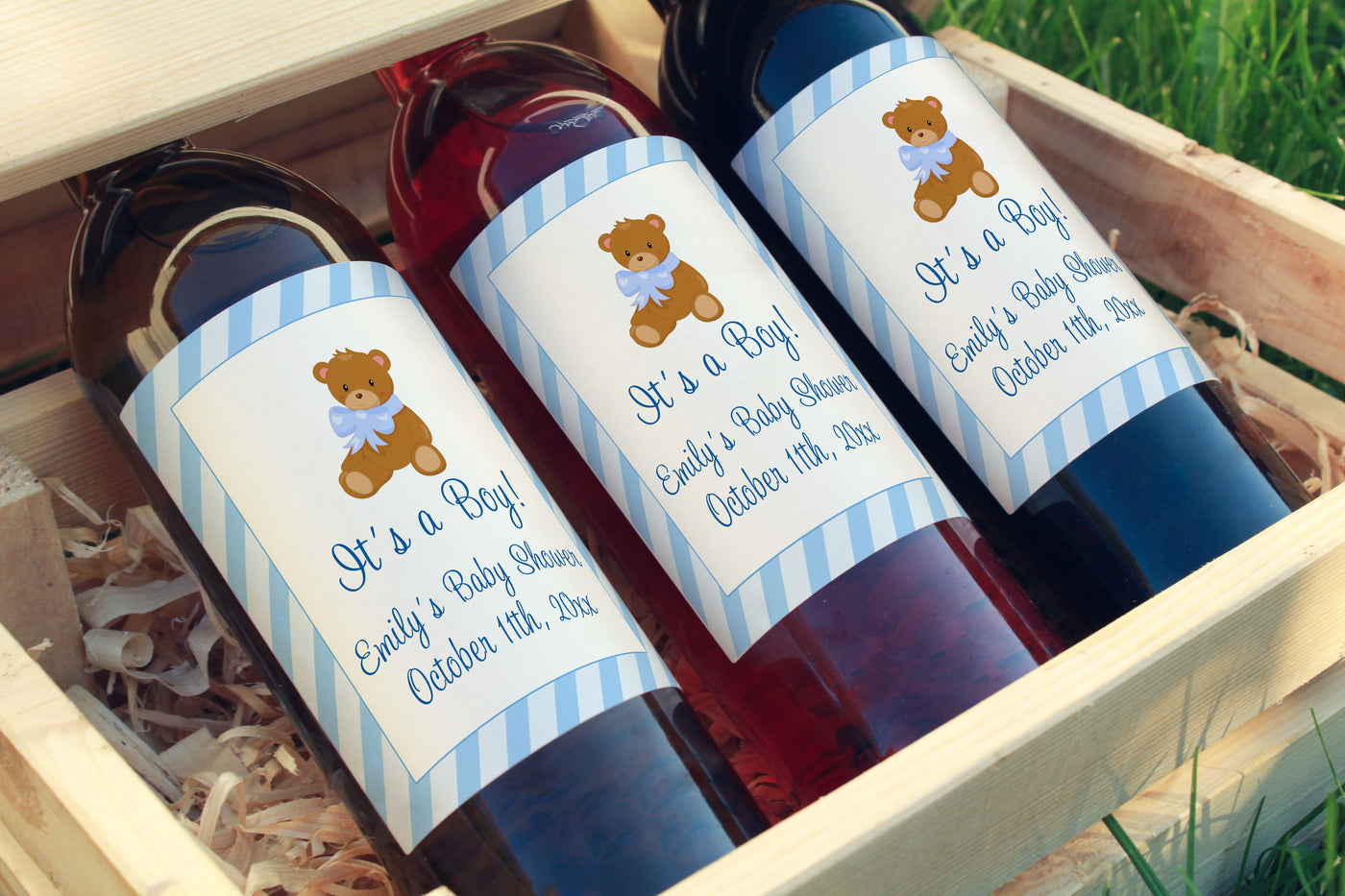 Wine Bottle Labels Bear Baby Shower Blue Printable Pink The Cat