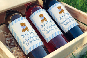 30 wine champagne bottle labels bear baby shower blue waterproof