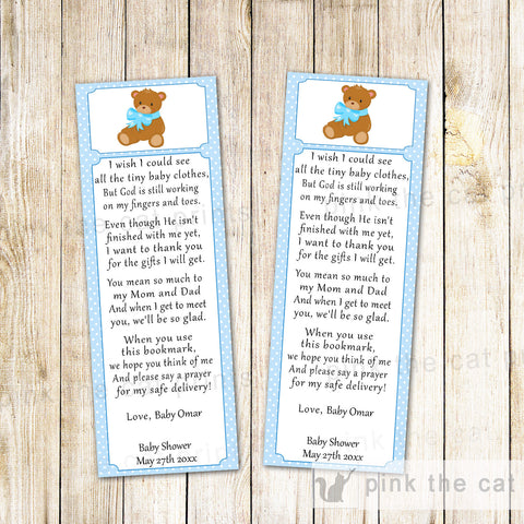 Bear Bookmark Favor Baby Boy Shower Blue White
