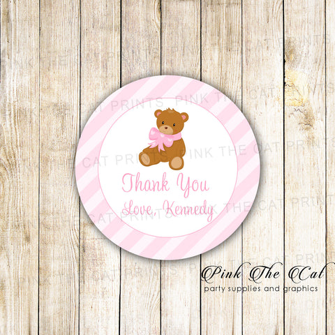 40 Stickers Bear Favor Label Girl Baby Shower Birthday
