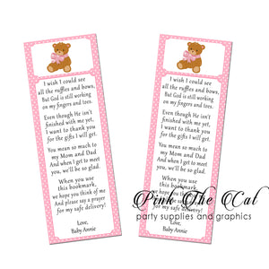 25 Bookmarks Pink Bear Baby Shower