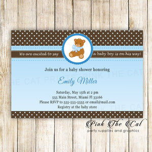 30 bear baby shower invitations blue brown polka dots personalized