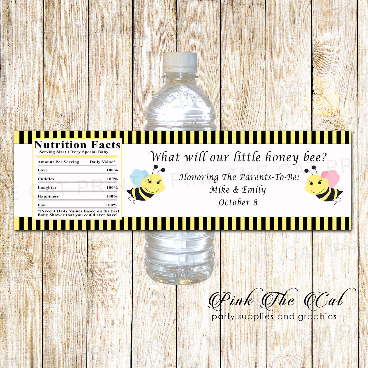 image regarding Printable Bottle Labels identify Bee bottle label boy or girl shower gender explain printable