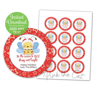 Bee christmas favor label merry & bright printable