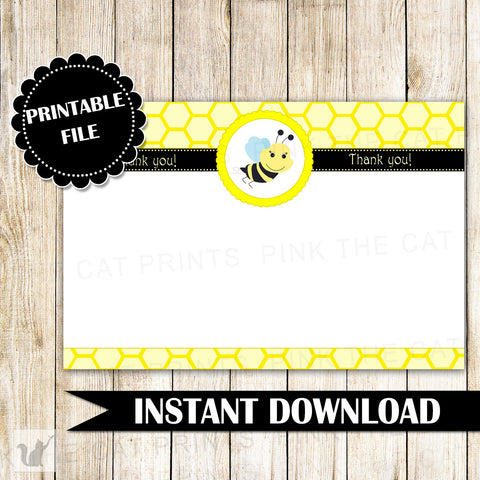 Bee Blank Thank You Card Note Gender Reveal Baby Shower