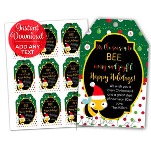 Bee christmas favor tag printable