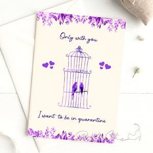 Quarantine cheer you up love birds greeting card ecard purple lavender