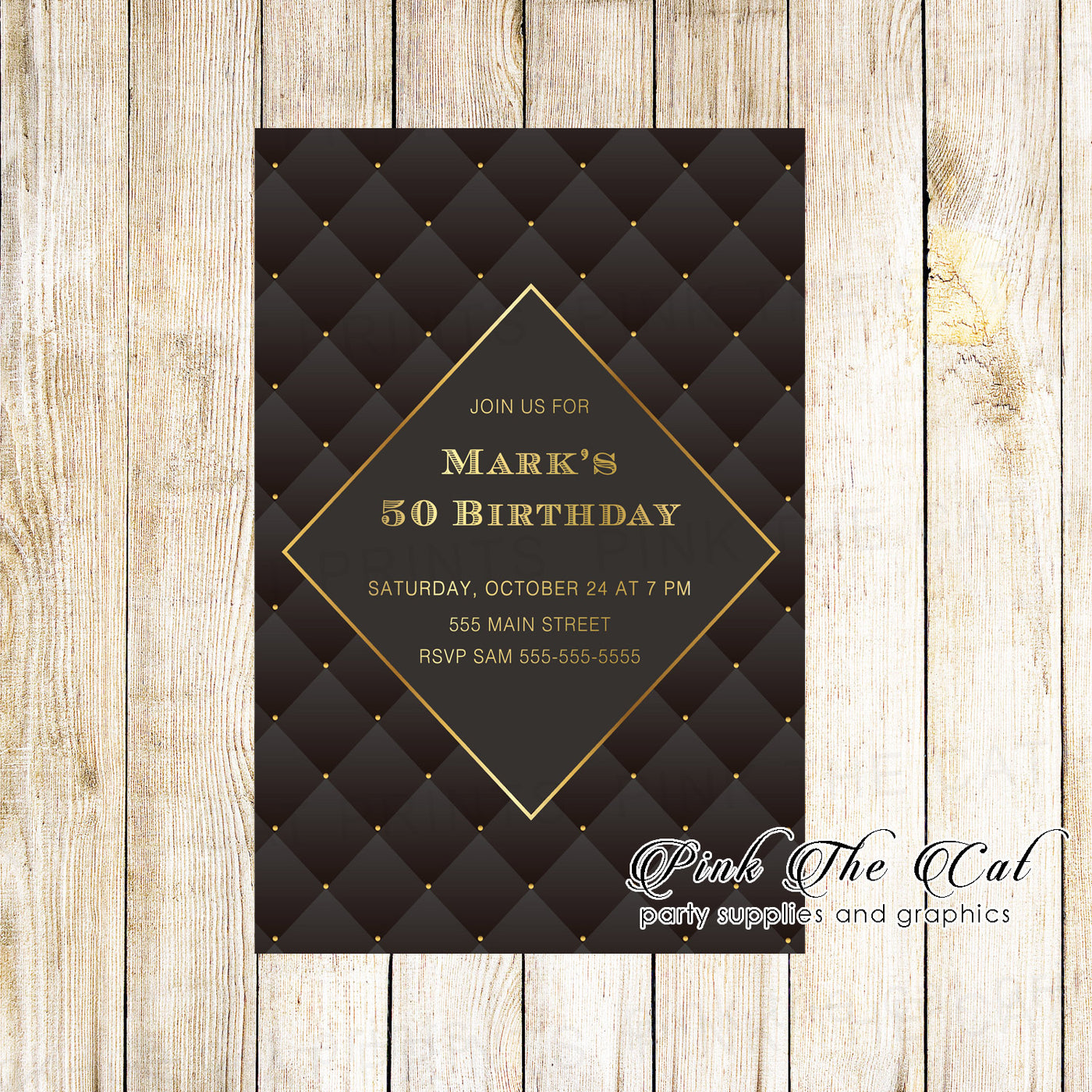 30 Adult Birthday Invitations Black Gold With Envelopes Personalized Pink The Cat