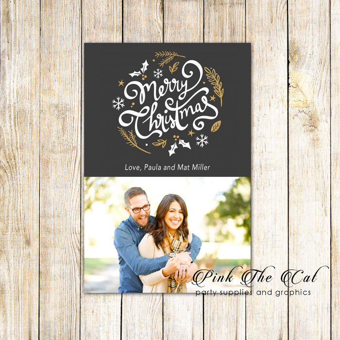 30 holiday christmas greeting cards with photo black gold