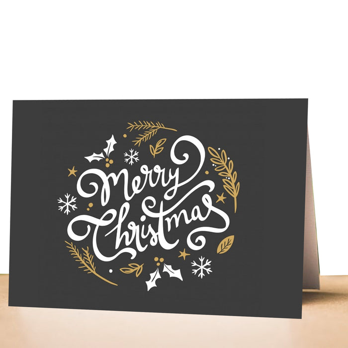 100 greeting cards christmas holiday black gold folded
