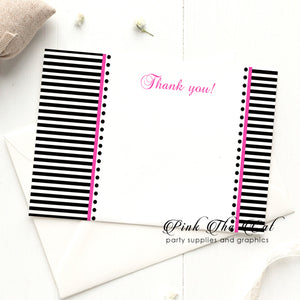 30 Black white pink stripes thank you card with envelopes