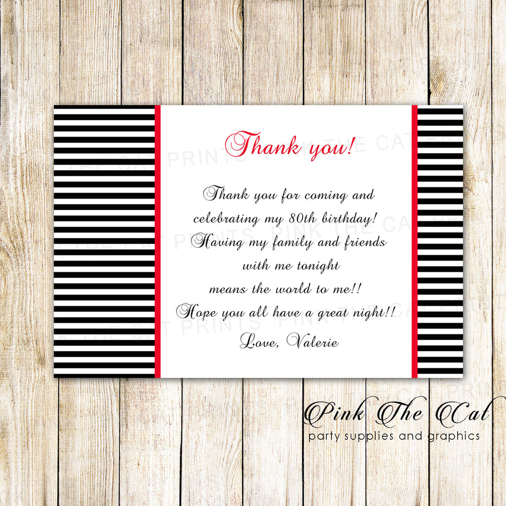 30 thank you black white pink stripes birthday bridal shower