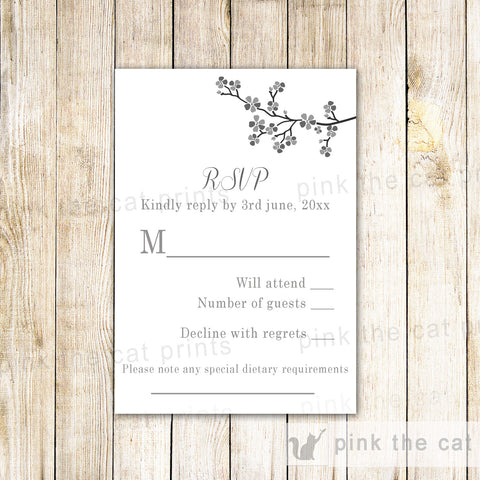 Blossom Cherry Floral Wedding RSVP Card Grey Black White